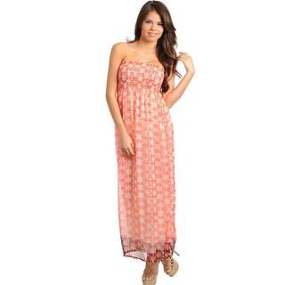 Stanzino Women's Strapless Smocked Coral Dress