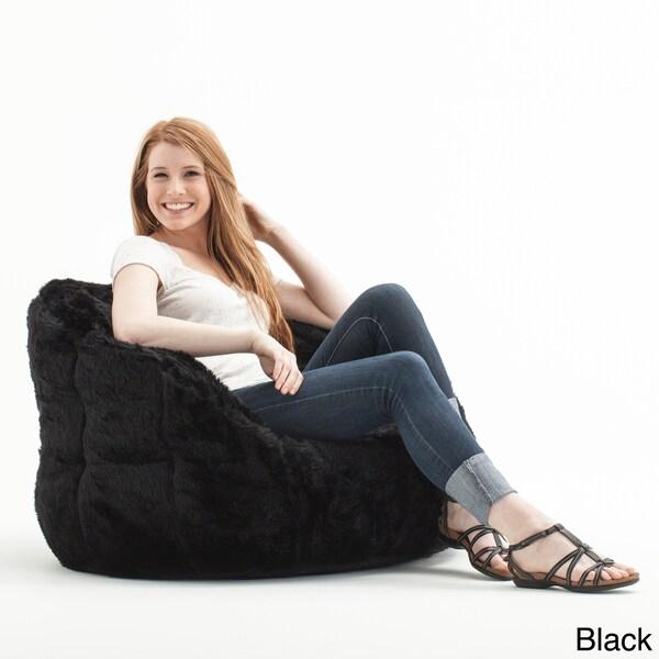 Beansack Big Joe Milano Faux Fur Bean Bag Chair Free