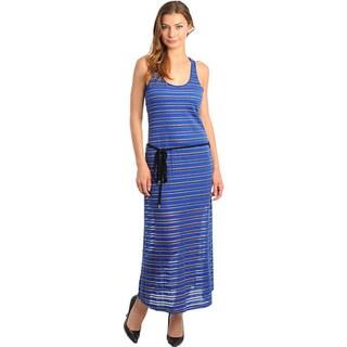 Stanzino Women's Racerback Perforated Fabric Maxi Dress