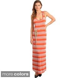 Stanzino Women's Striped Racerback Maxi Dress with Waist Tie