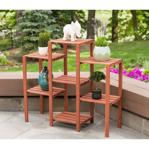 Cypress Wood 7 Tier Plant Stand