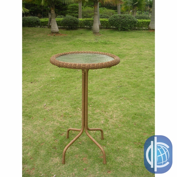 International Caravan Resin Wicker Bar Height Outdoor Bistro Table Free Shi