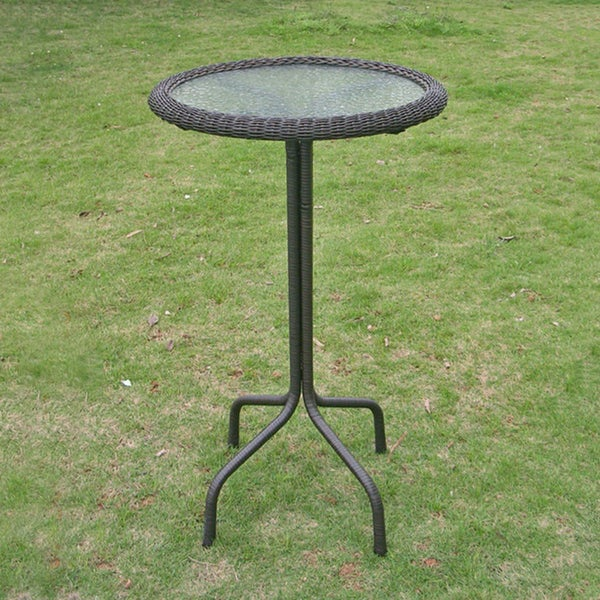 International Caravan Resin Wicker Bar Height Outdoor Bistro Table   Free  Shipping Today   Overstock.com   15418177