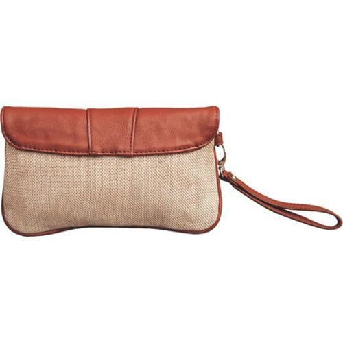 Women's Elise Hope Textured Linen Clutch Brown - Thumbnail 1
