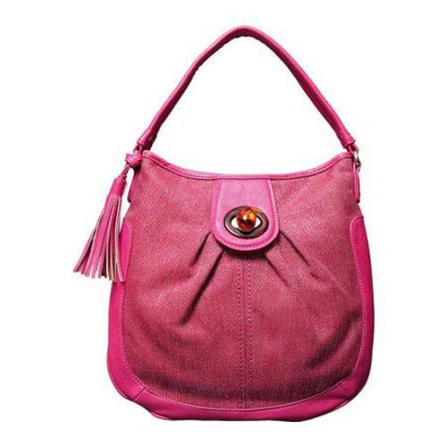 Women's Elise Hope Textured Linen Hobo Fuchsia - Thumbnail 0