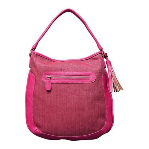 Women's Elise Hope Textured Linen Hobo Fuchsia - Thumbnail 1
