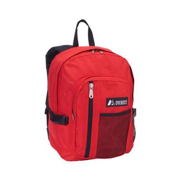 Everest 16-inch Red Front Mesh Pocket Backpack