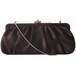 Women's J. Furmani 20290 Pleated Satin Clutch Black