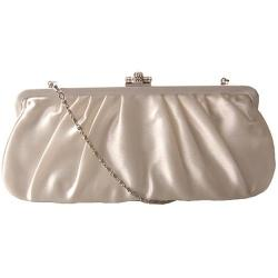 Women's J. Furmani 20290 Pleated Satin Clutch Ivory