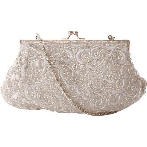 Women's J. Furmani 71050 Beaded Evening Bag Silver