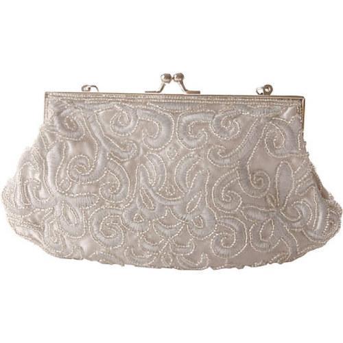 Women's J. Furmani 71050 Beaded Evening Bag Silver - Thumbnail 1
