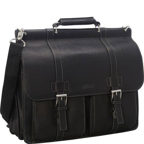 Kenneth Cole Reaction Colombian Leather Double Compartment Flapover 15in Laptop Dowelrod Business Portfolio
