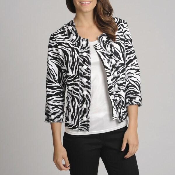75f7f5d576fd Shop Berek Women's Zebra Print Novelty Jacket - Free Shipping Today -  Overstock - 8066304