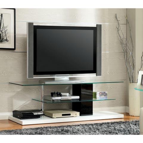 Furniture of America Vele Modern White 63-inch 2-shelf Media Center