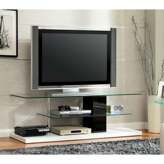 Furniture of America Jayjay Contemporary Tier-Tempered Glass Shelving 63-inch Media Center