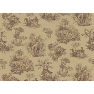 Light Brown Safari Toile Wallpaper