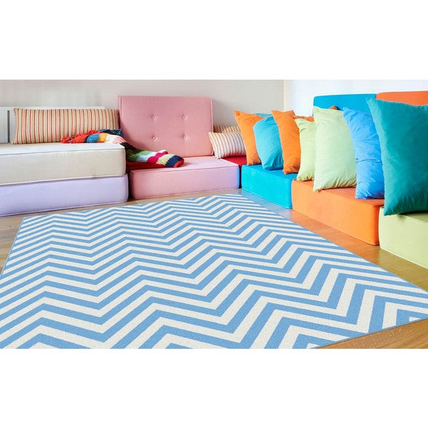Alise Metropolis Blue and White Chevron Area Rug (5'3 x 7'3)