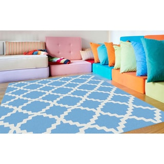 Alise Metropolis Blue and White Moroccan Lattice Runner (2'3 x 7'3)