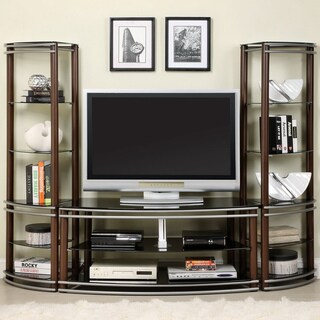Furniture of America Khanhshey Tempered Glass Pier Tower Shelf 52-inch Media Center