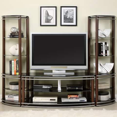 Furniture of America Ped Contemporary 52-inch Brown Glass Media Center