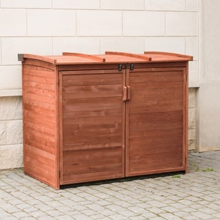 Brown Finish Large Horizontal Refuse Storage Shed