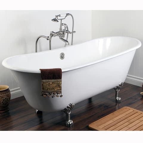 Double Slipper 67-inch Cast Iron Clawfoot Bathtub