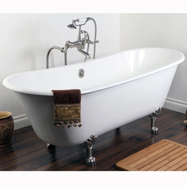 Phenomenal Shop Double Slipper 67 Inch Cast Iron Clawfoot Bathtub Cjindustries Chair Design For Home Cjindustriesco