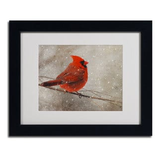 Lois Bryan 'Cardinal In Winter' Framed Matted Giclee Art