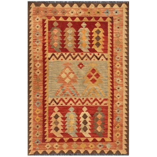 Afghan Hand-knotted Mimana Kilim Salmon/ Red Wool Rug (3'2 x 4'10)