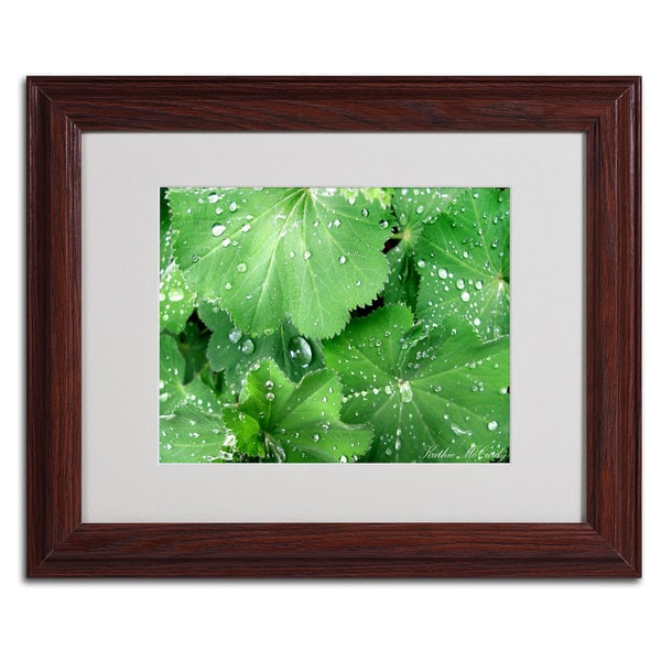 Kathie McCurdy 'Water Droplets' Framed Matted Canvas Art - Green