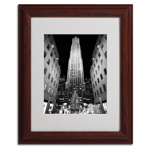 Yale Gurney 'Rockefeller Night' Vertical Framed Matted Art