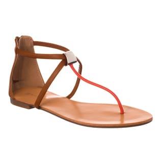 Riverberry Women's 'Grayson' Metal Loop T-strap Flat Sandals