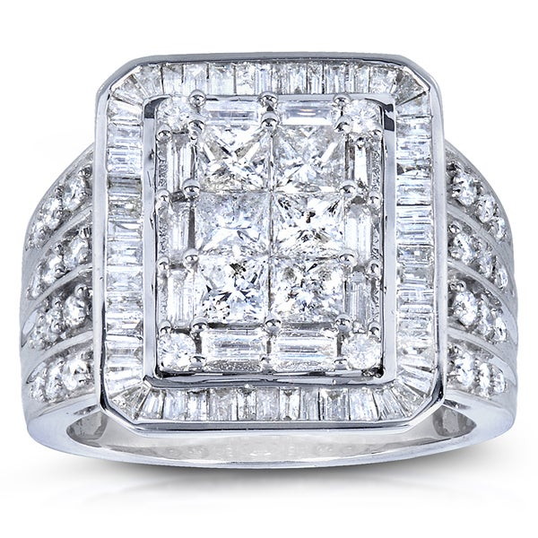 Annello by Kobelli 14k White Gold 2ct TDW Baguette Princess Mixed Cut Pave Diamond Ring (