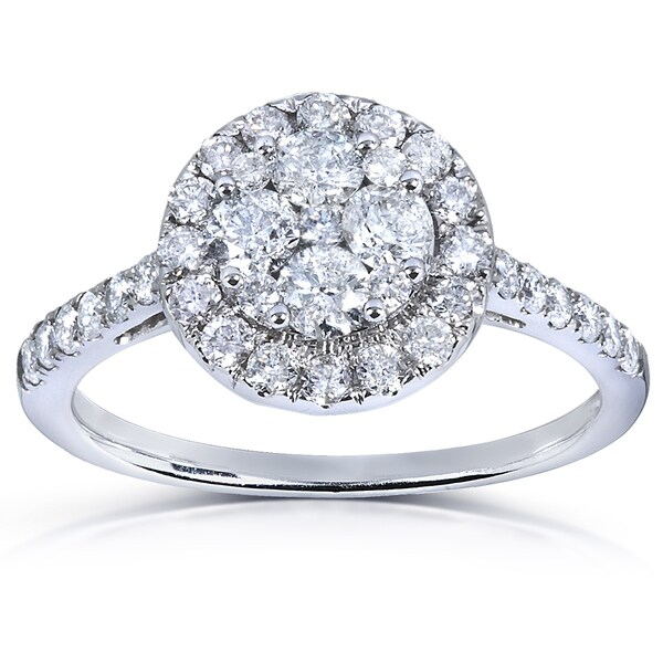 Annello by Kobelli 14k White Gold 1ct TDW Diamond Cluster Engagement Ring (H-I, I1-I2)