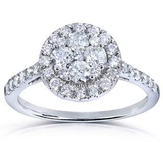 Annello by Kobelli 14k White Gold 1ct TDW Diamond Cluster Engagement Ring (H-I, I1-I2)