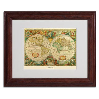'Old World Map Painting' Framed Matted Art