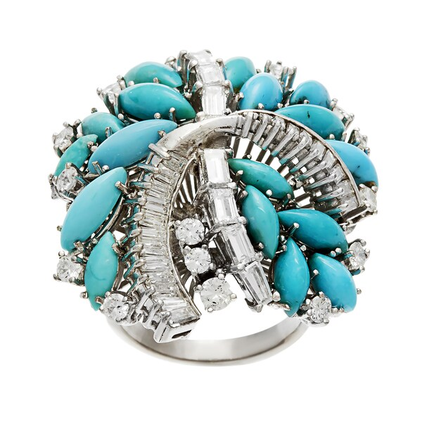 Pre-owned 14k Gold Turquoise and 1 1/2ct TDW Diamond Estate Ring (G-H, VS1-VS2)