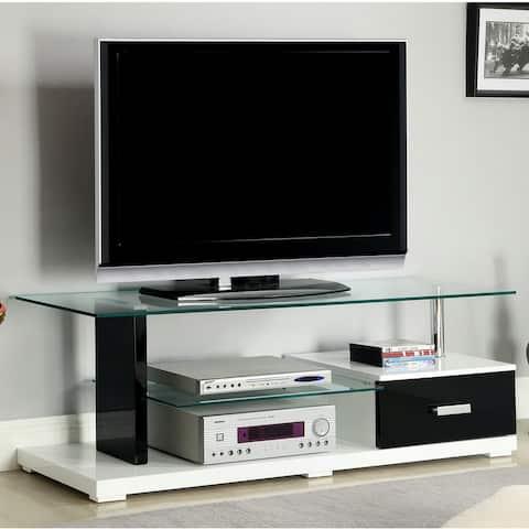 Furniture of America Riff Modern White 55-inch 2-shelf Media Console