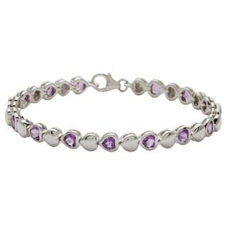 Oravo Sterling Silver Round-cut Amethyst Bracelet