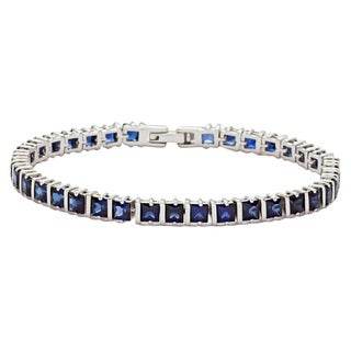 Oravo Sterling Silver Princess-cut Created Sapphire Bracelet