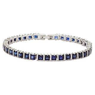 Oravo Sterling Silver Princess-cut Created Sapphire Bracelet|https://ak1.ostkcdn.com/images/products/8066888/8066888/Oravo-Sterling-Silver-Princess-cut-Created-Sapphire-Bracelet-P15422670.jpg?_ostk_perf_=percv&impolicy=medium