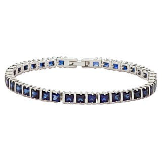Oravo Sterling Silver Princess-cut Created Sapphire Bracelet|https://ak1.ostkcdn.com/images/products/8066888/8066888/Oravo-Sterling-Silver-Princess-cut-Created-Sapphire-Bracelet-P15422670.jpg?impolicy=medium