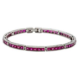 Oravo Sterling Silver Created Ruby Bracelet