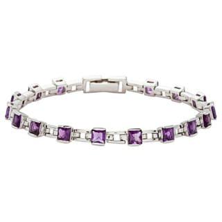 Oravo Sterling Silver Princess-cut Amethyst Bracelet