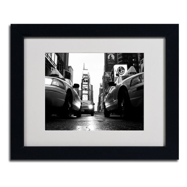 Yale Gurney 'Broadway Taxis' Horizontal Framed Matted Art - BLACK/WHITE