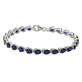 Link to Oravo Sterling Silver Pear-cut Created Sapphire Bracelet Similar Items in Bracelets