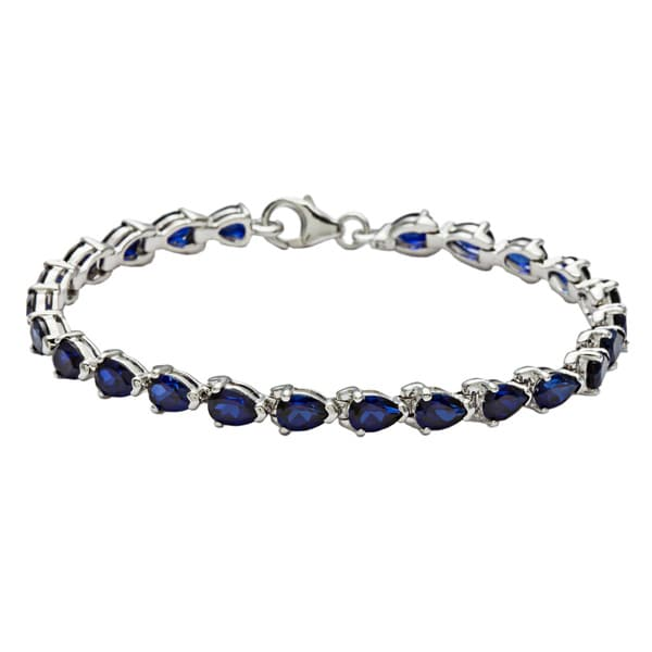 Oravo Sterling Silver Pear-cut Created Sapphire Bracelet. Opens flyout.