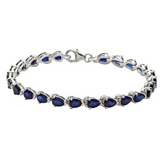 Oravo Sterling Silver Pear-cut Created Sapphire Bracelet