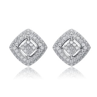 Collette Z Sterling Silver Cubic Zirconia Square Earrings