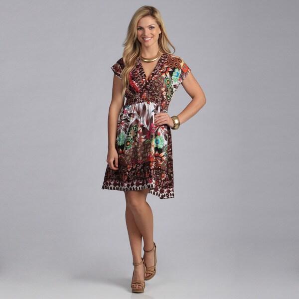 Just Funky Women's Jungle Print Cotton Dress